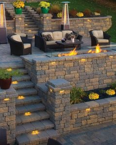 Chair setup with fire pit and stairs