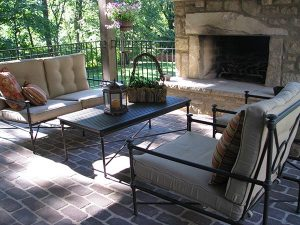 backyard patio with fire place