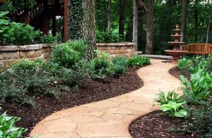 garden path with tree and bench