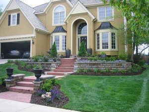 front yard of house with grass