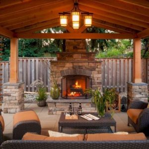 fire place and outdoor furniture